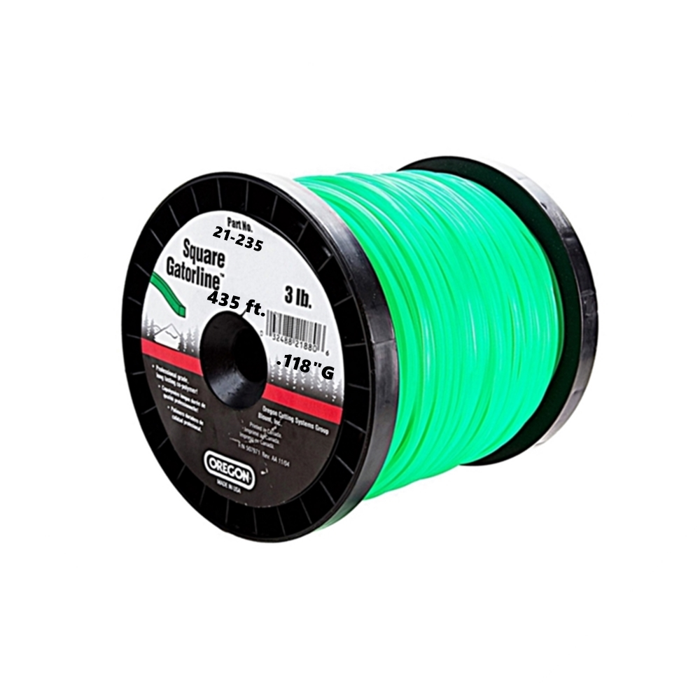 "Oregon Green Gatorline Square Weed Whacker String Trimmer Line .118""GA 435'  3 LB Commercial Grade Spool"