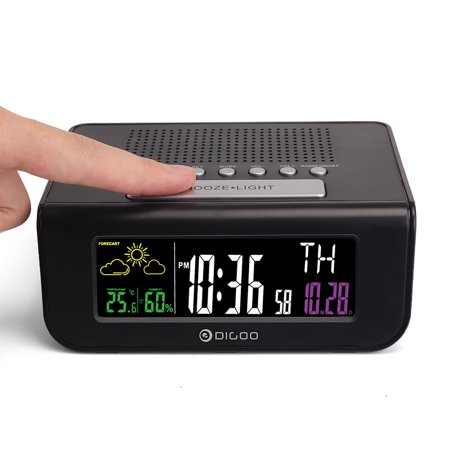 Digoo Digital FM Radio Weather Forecast Station,Snooze Alarm Clock, Humidity Temperature Meter, Calendar with Colorful Screen - image 6 of 8
