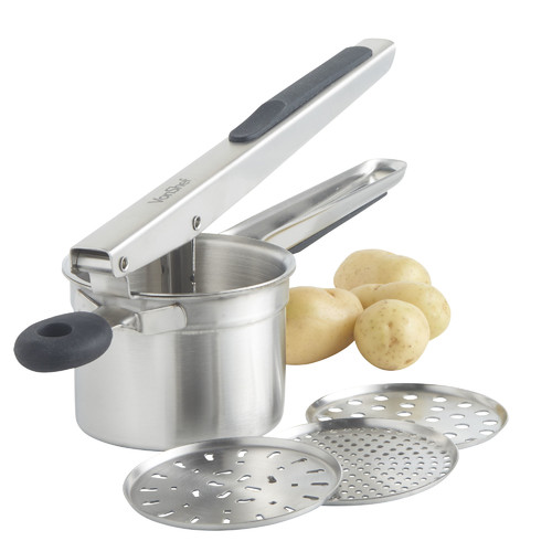 Click here to buy VonShef 4 Piece Stainless Steel Mash Potato Ricer Masher Fruit Press Baby Food Strainer with 3 Interchangeable Discs and Soft Grip Handle.