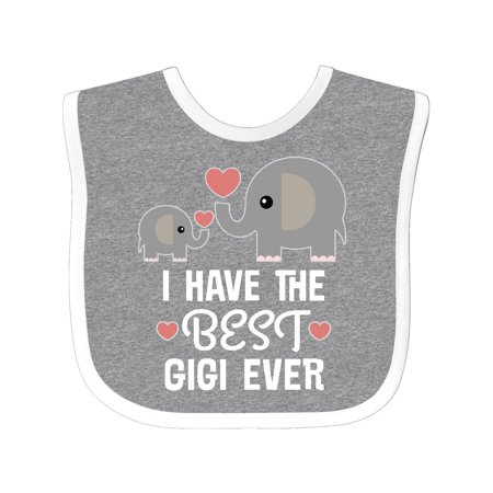 Best Gigi Ever Grandkids Baby Bib Heather/White One