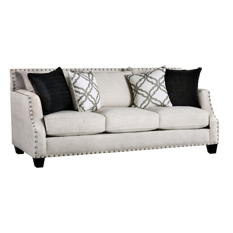 Furniture of America Simar Ivory Chenille Sofa in Ivory
