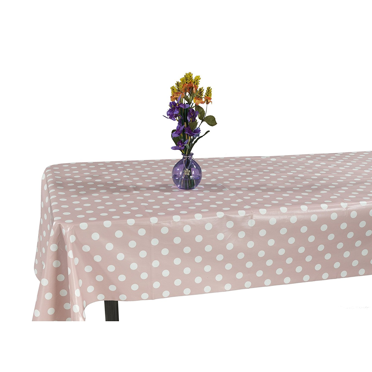 "Ottomanson Vinyl Polka Dot Design 55"" X 102"" Indoor & Outdoor Non-Woven Backing Tablecloth"