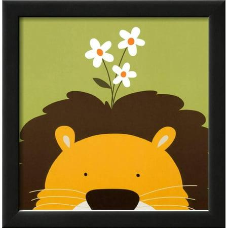 Lions Framed Wall - Peek-a-Boo IX, Lion Framed Art Print Wall Art  By Yuko Lau - 14x14