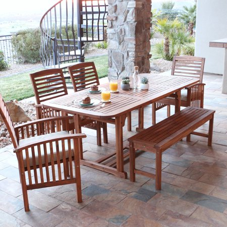 Walker Edison Acacia Patio Dining Set With Bench And Cushions   Seats 6