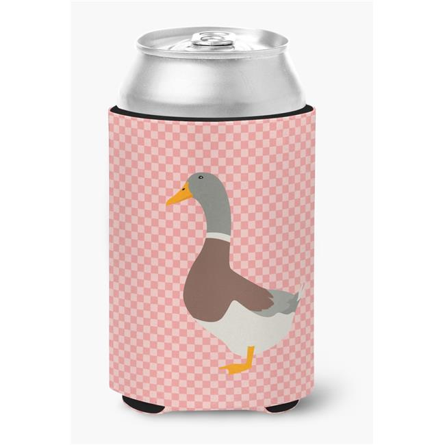 Saxony Sachsenente Duck Pink Check Can or Bottle Hugger