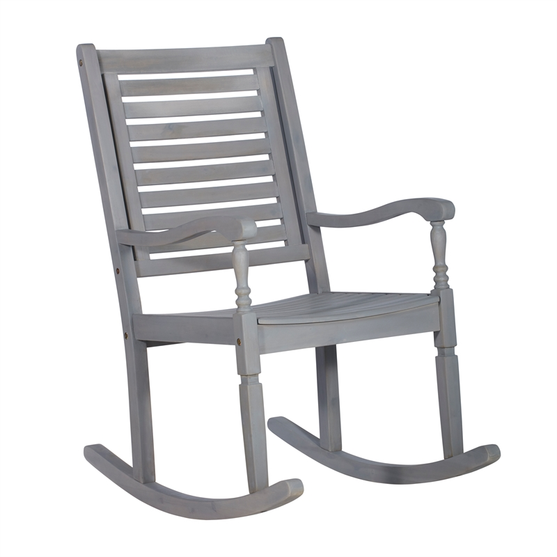 Outdoor Wood Patio Rocking Chair - Gray Wash