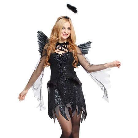 Spooktacular Women's Dark Angel Costume with Elegant Black Dress & Accessories](Dark Angel Accessories)