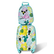 Gymax 2PC Kids Luggage Set Backpack & Rolling Suitcase Travel ABS Flamingos