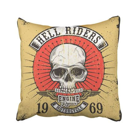 BPBOP Biker Vintage Of Skull With Hell Riders Style Design About Graphic With Motorcycle Pillowcase Throw Pillow Cover 20x20 inches
