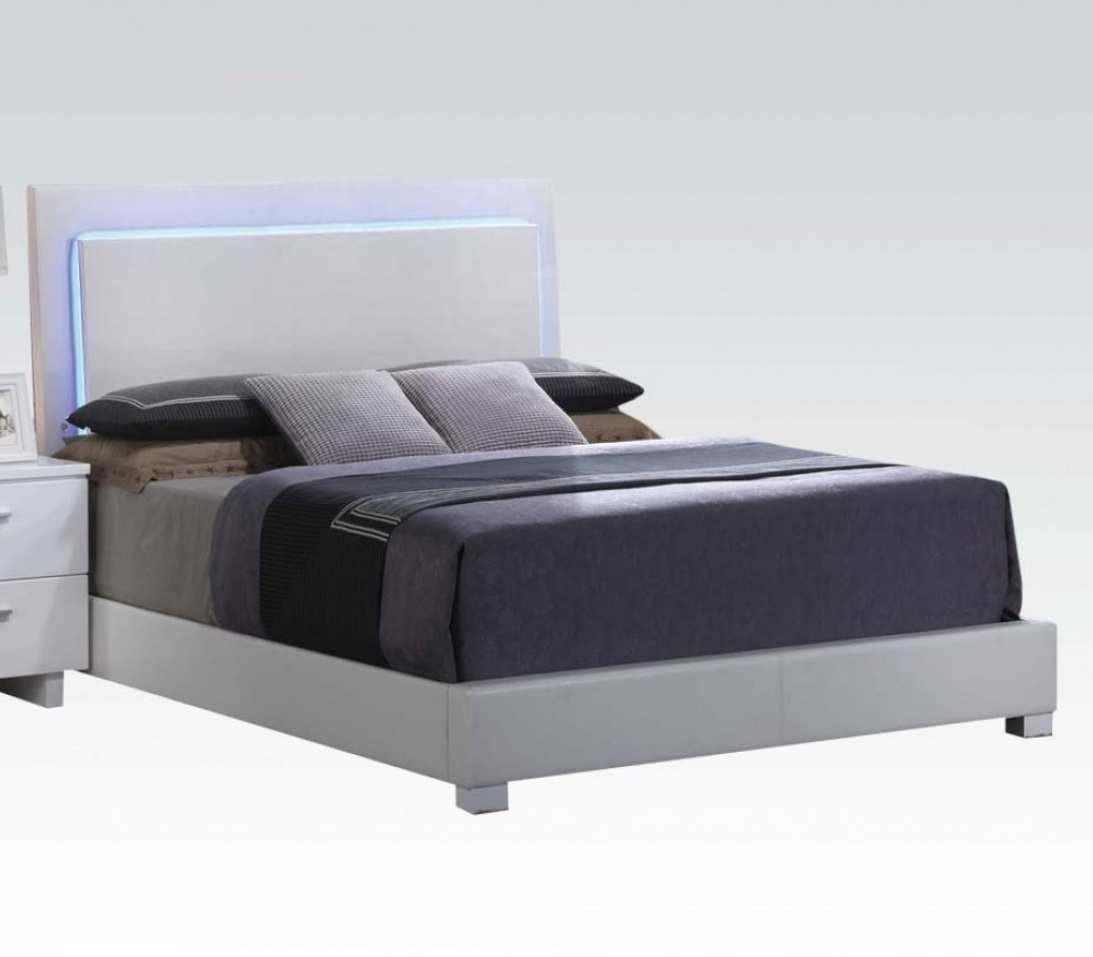 ACME Lorimar Eastern King Bed with LED in White PU & Chrome Leg, Multiple Sizes by Acme Furniture