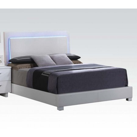 ACME Lorimar Eastern King Bed with LED in White PU, Multiple Sizes