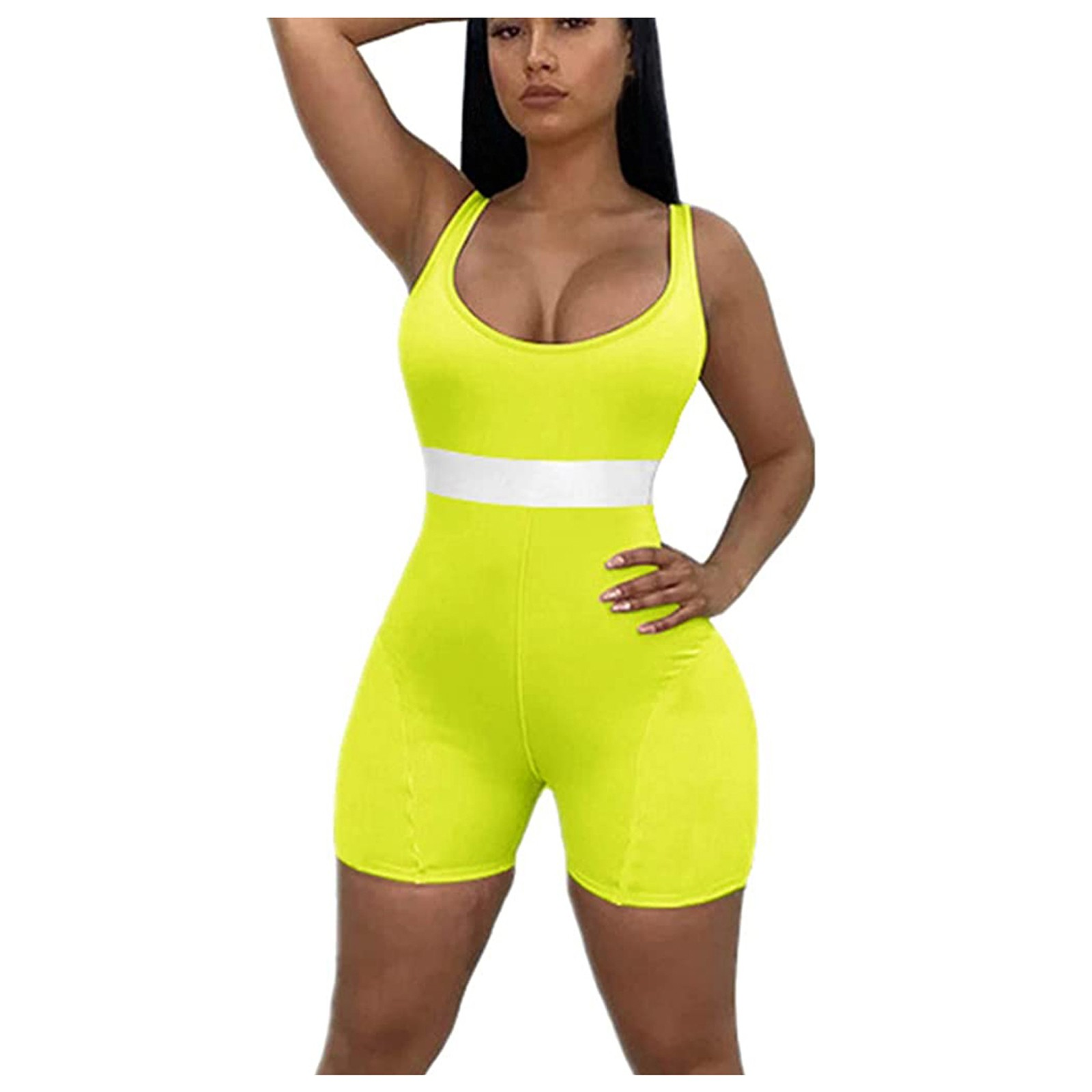 Summer Solid V neck Sleeveless Short Pants Sporty Romper Clubwear Jumpsuit Women