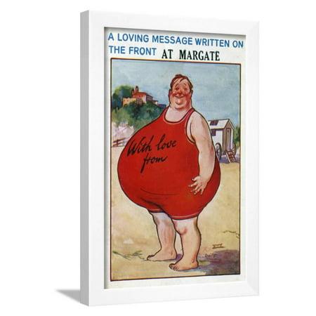 Center Postcard - A Seaside Postcard from Margate, Kent, 20th Century Framed Print Wall Art