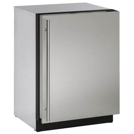 U-3024FZRS-00A 24 Upright Freezer with 4.5 cu. ft. Capacity Right Hinge Convection Cooling U-Select Control LED Lighting 4 Leveling Legs and 3 Baskets in Stainless Steel
