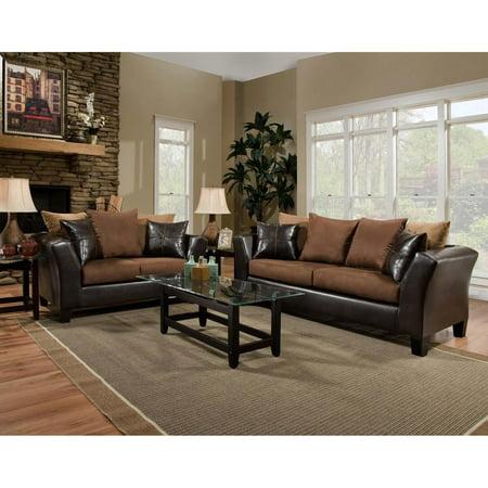 Sierra Chocolate Microfiber Living Room Set