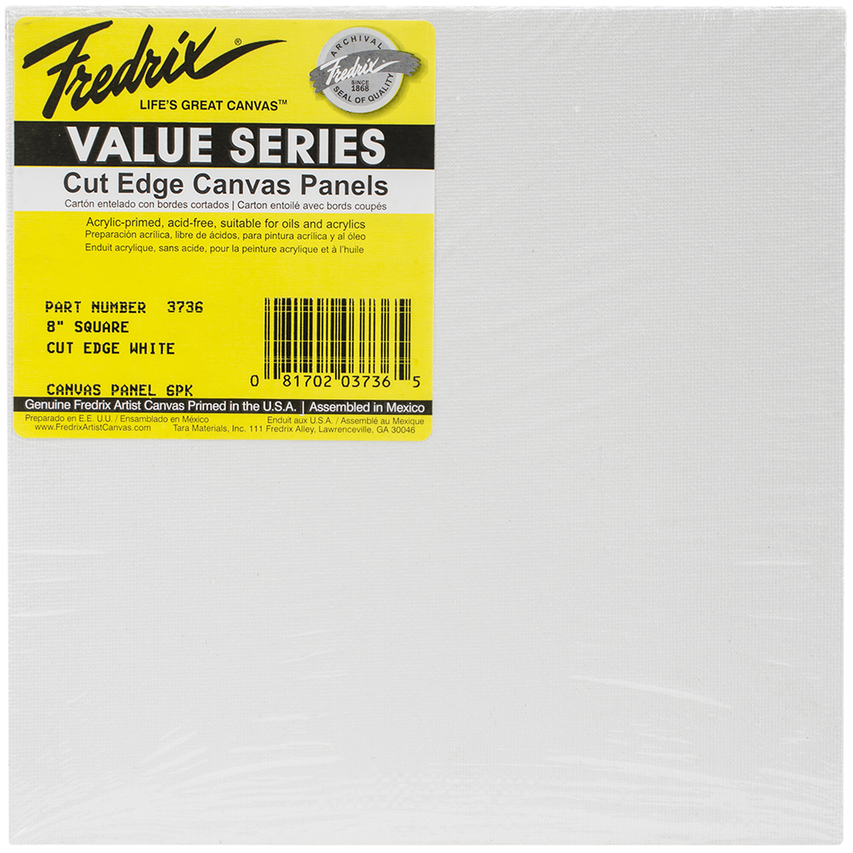 Tara Fredrix Square Cut Edge Canvas Panel 6/Pkg-8""