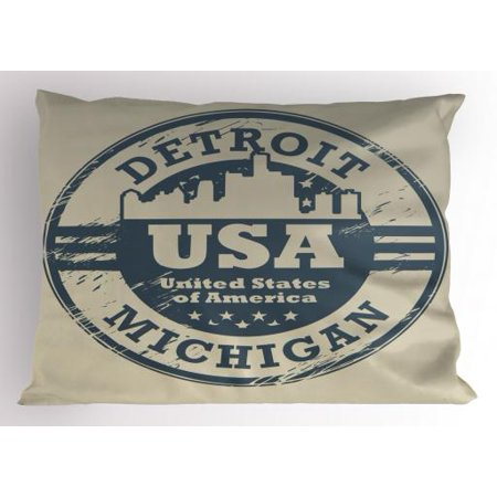 - America Pillow Sham Passport Stamp Inspired Grungy Figure of Detroit Michigan State with Stars, Decorative Standard Size Printed Pillowcase, 26 X 20 Inches, Blue Grey and Taupe, by Ambesonne