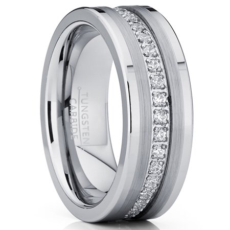 Ring Wright Co. Tungsten Carbide Wedding Band Eternity Ring, Cubic Zirconia Inlay Comfort Fit 8mm