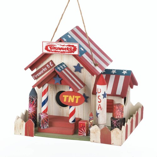 Zingz & Thingz Fireworks Stand 7.25 in x 9 in x 7 in Birdhouse by Songbird Valley