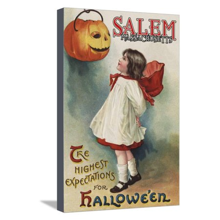 Salem, Massachusetts - Halloween Greeting - Girl in Red and White - Vintage Artwork Stretched Canvas Print Wall Art By Lantern - Halloween In Massachusetts