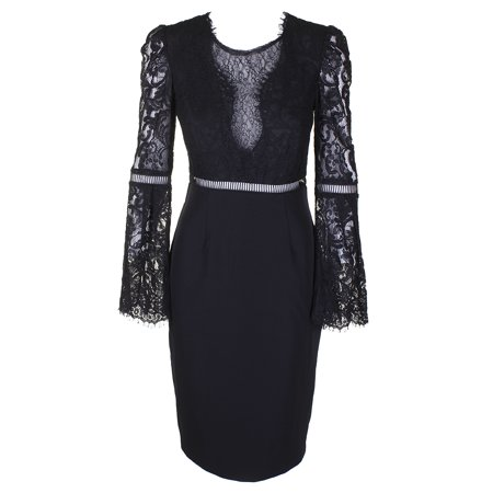Mixed Media Dress (Bardot Black Lace-Detail Mixed Media Bell-Sleeve Knee Length Shift Dress 6-S )