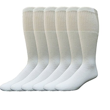 6 Pairs Value Pack of Wholesale Sock Deals Mens Cotton Tube Socks, Athletic Sport Socks (White)