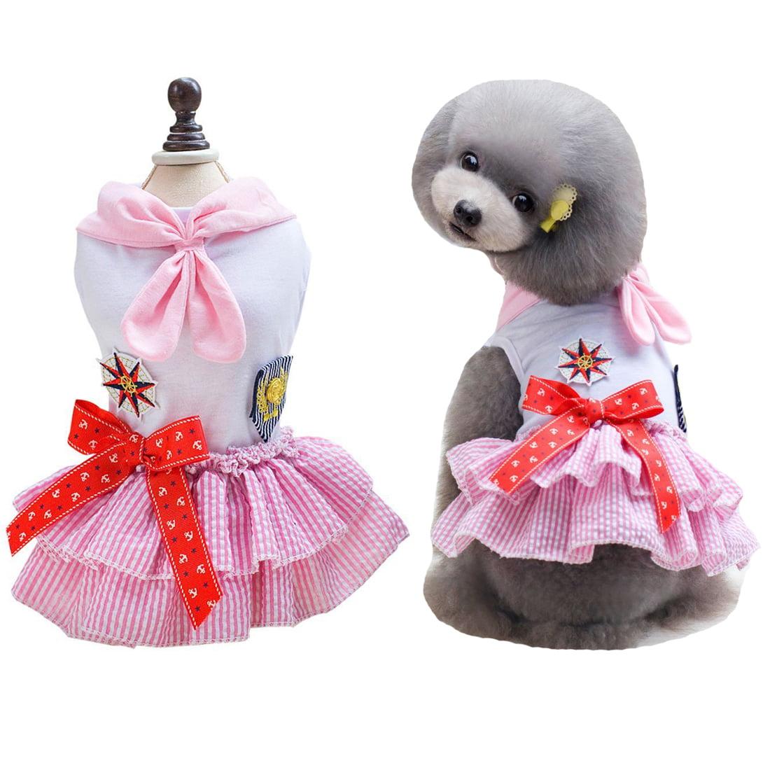 Classic Sailor Dog Skirt Small Pet Cat Tutu Dresses Puppy Clothes Costumes