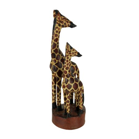 Hand Crafted Wood Standing Giraffe Family -