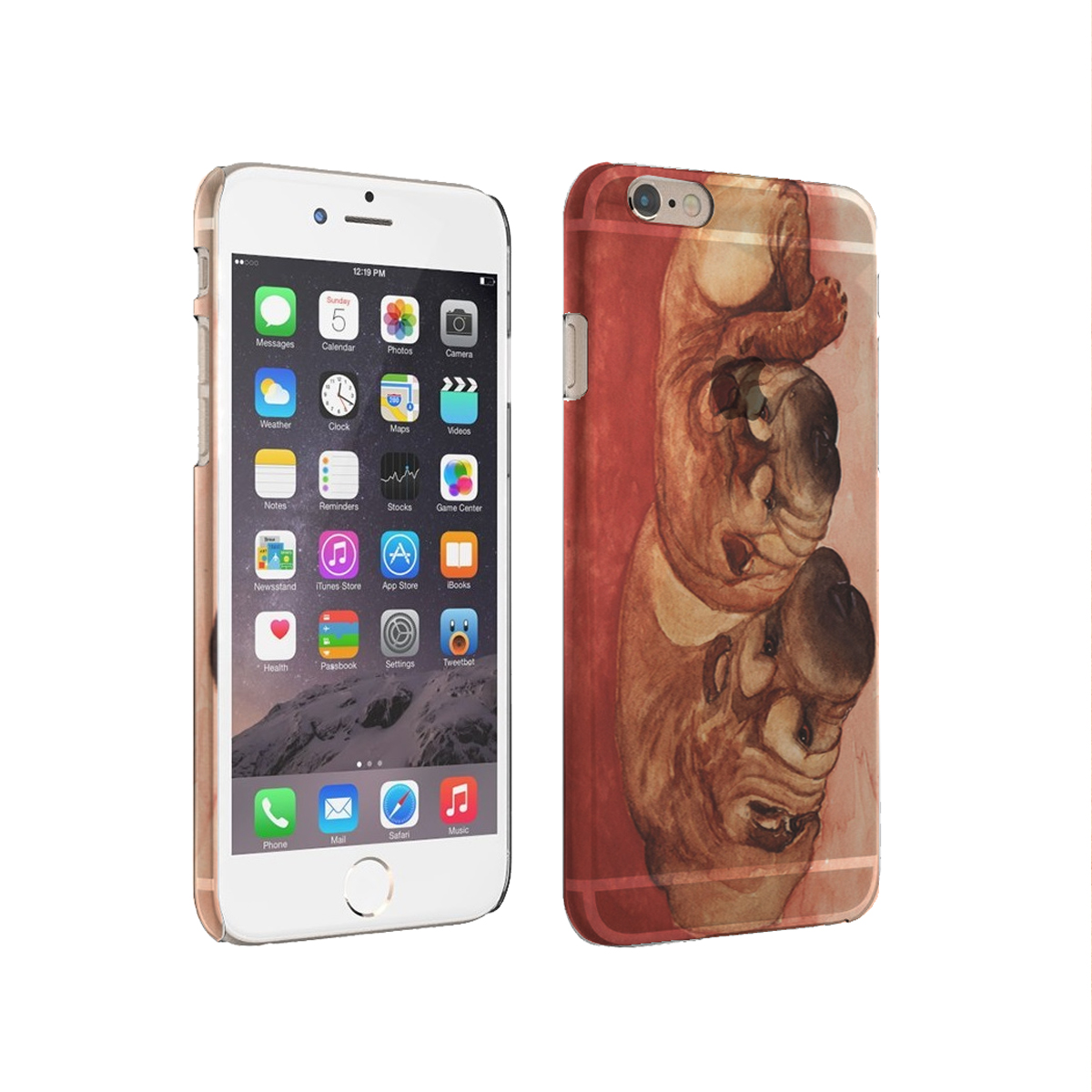 KuzmarK iPhone 6 Plus Clear Cover Case - Chinese Shar-Pei Mother and Daughter Art by Denise Every