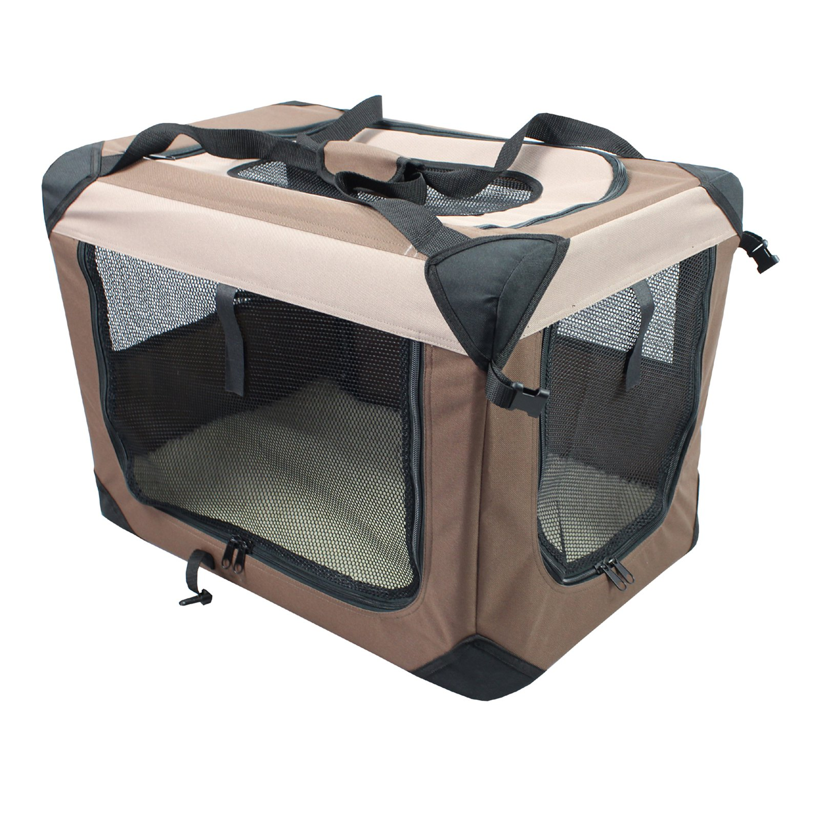 Iconic Pet Multipurpose Pet Soft Crate with Fleece Mat, Coffee/Khaki, Small