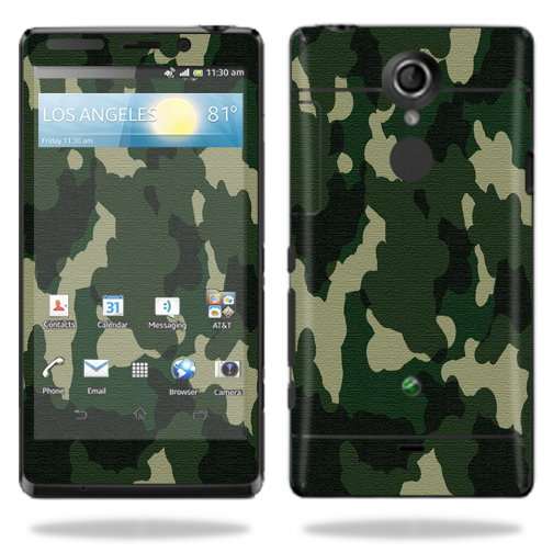 Mightyskins Protective Vinyl Skin Decal Cover for Sony Xperia TL Cell Phone AT&T wrap sticker skins Green Camo