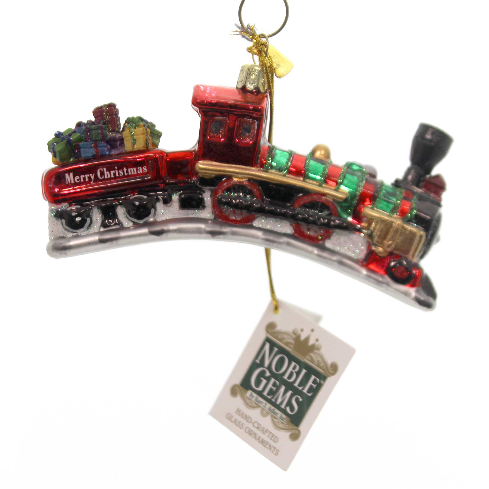 Holiday Ornaments TRAIN NOBLE GEMS Glass Christmas Hand Crafted