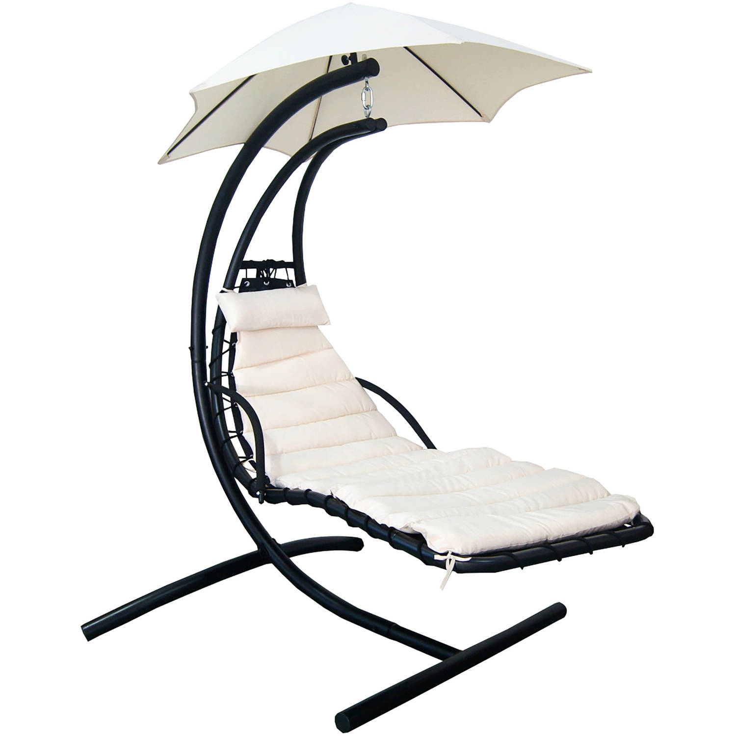 Blue Wave Island Retreat Hanging Lounge with Shade Canopy Terra