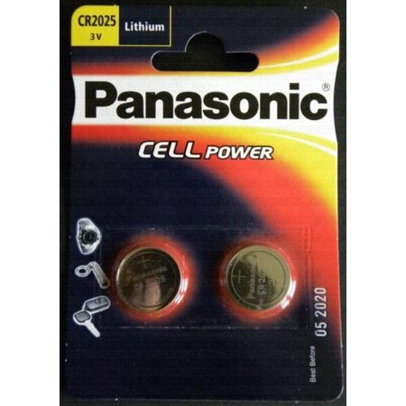 One (1) Twin Pack (2 Batteries) Panasonic Cr2025 Lithium Coin Cell Battery 3V Blister