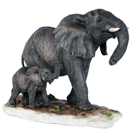 African Elephant with Baby Elephant Endangered Wildlife Collectible Figurine Statue Decor Gift ()