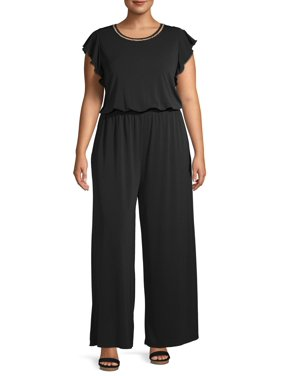 Concepts Women's Plus Size Flutter Shoulder Jumpsuit with Pearl Detail