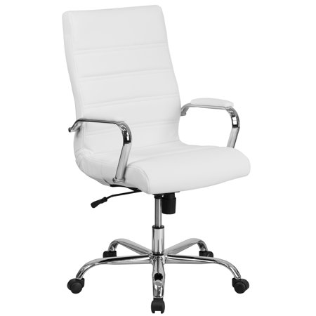 High Point Furniture Office Bench - Flash Furniture High Back White Leather Executive Swivel Office Chair with Chrome Arms