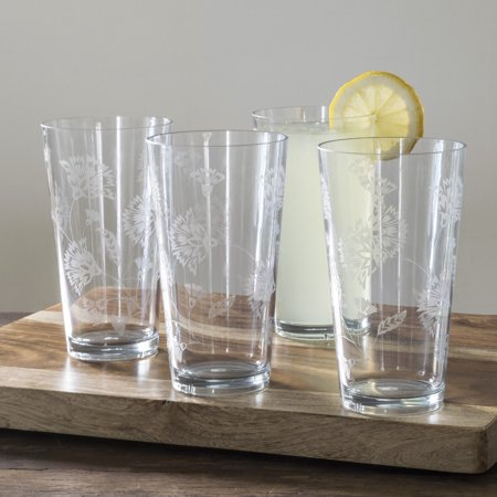Mainstays Floral Etched Jumbo 20 oz Tumbler, 4 (Small Tumbler Pack)