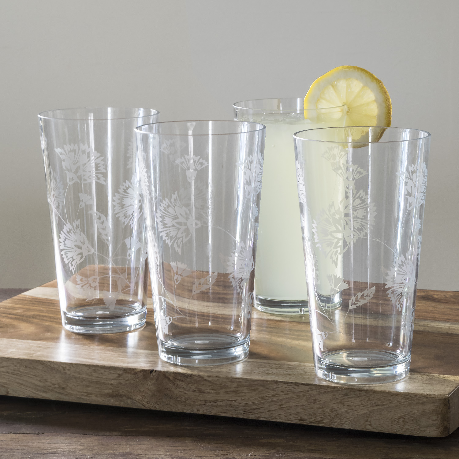 Mainstays Floral Etched Jumbo 20 oz Tumbler, 4 Pack