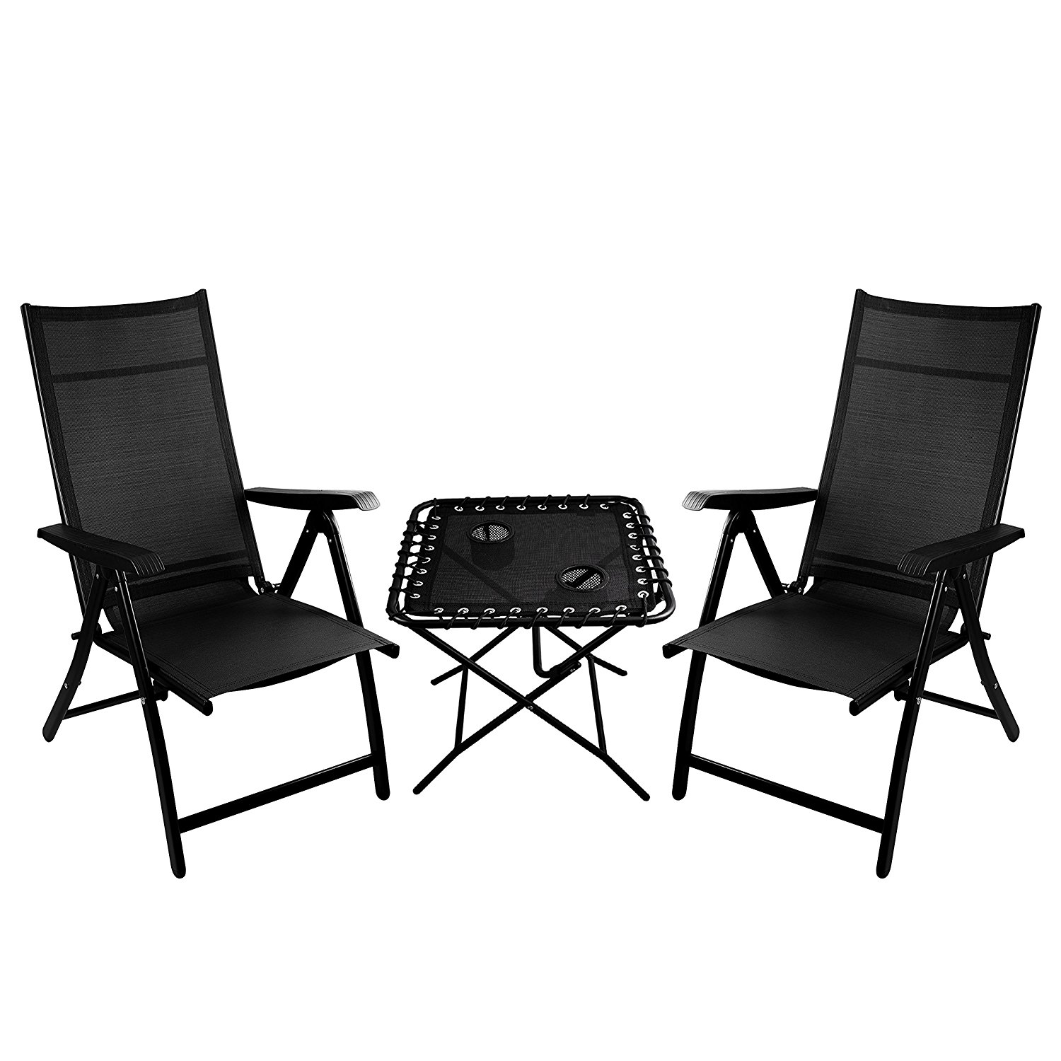 Delicieux 2 Heavy Duty Durable Adjustable Reclining Folding Chairs + 1 Folding Side  Table Outdoor Indoor Garden