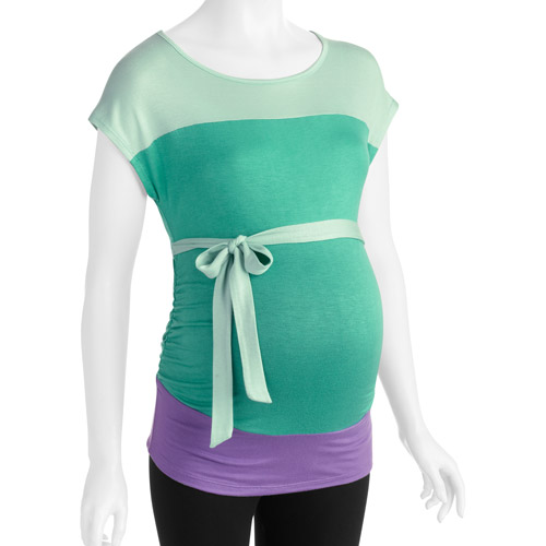 Planet Motherhood Maternity Colorblocked Short Sleeve Top