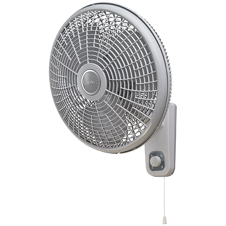 "Lasko 16"" Oscillating Wall Mount Fan with Anti-Rust Grills"