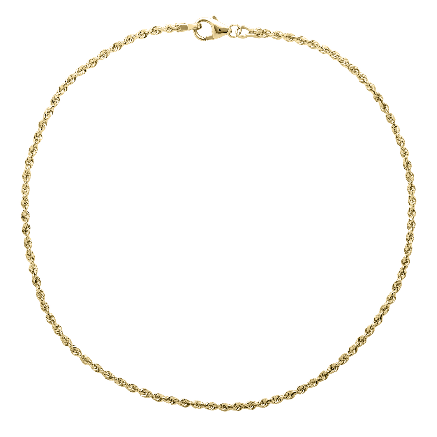 Simply Gold 10kt Yellow Gold 2.0mm Rope Anklet