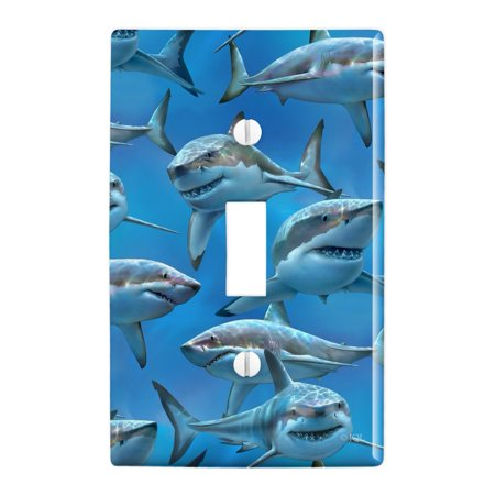 Great White Sharks Ocean Diving Pattern Plastic Wall Decor Toggle Light Switch Plate Cover - Lightswitch Cover