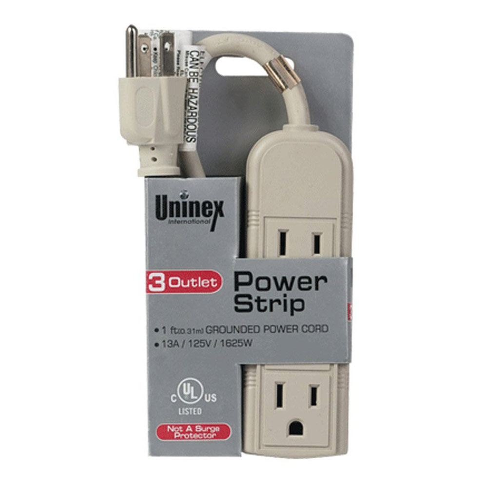 Uninex 3-Outlet Mini Power Strip Cord, 1 Feet Long, Beige