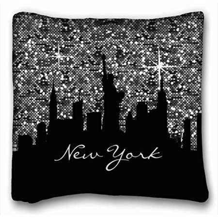 WinHome Black And Silver Confetti Glitter New York Skyline Pillowcase Throw Pillow Case Cases Cover Cushion Covers Sofa Size 18x18 Inches Two Side ()