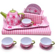 Jimmy's Toys Tea Set for Girls - Stainless Steel Play Pretend Tea Time Toy Sets for Children, (Pink)