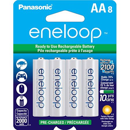 Panasonic BK-3MCCA8BA Eneloop AA 2100 Cycle Ni-MH Pre-Charged Rechargeable Batteries (Pack of