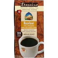 Teeccino  Roasted Herbal Tea  Medium Roast  Hazelnut  Caffeine Free  25 Tea Bags  5 3 oz  150 g