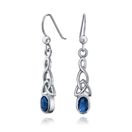 Bling Jewelry Oval Simulated Sapphire Glass Celtic Knot Silver Earrings